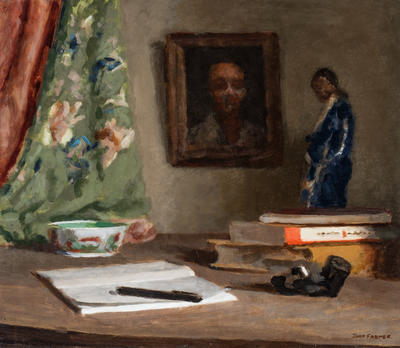 Chinese Figure and Books; painting