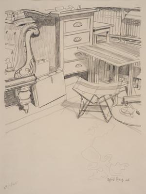 (A corner of artist's studio)