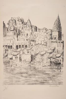 Pilgrims Bathing at Benares; work on paper