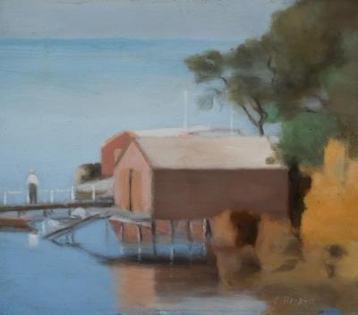 Boatshed, Beaumaris; painting