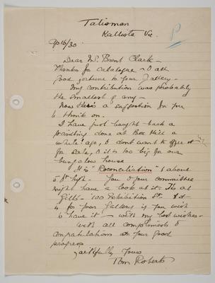 Letter to Mr Clark (Castlemaine Art Gallery and Historical Museum Honorary Secretary 1915-1937) from Tom Roberts