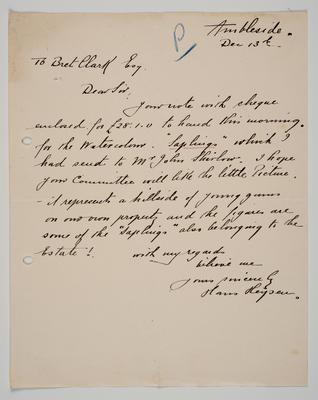 Letter to Mr Clark, Castlemaine Art Gallery 1923 from Hans Heysen
