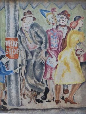The Tram Stop; painting
