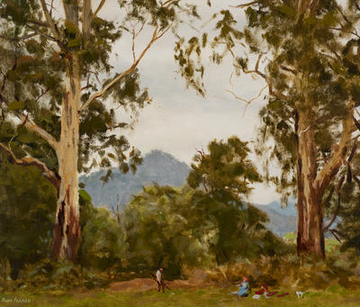 Through the Gum Trees Spreading Wide; painting
