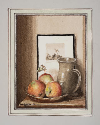 (Still life, apples, jug and framed picture)