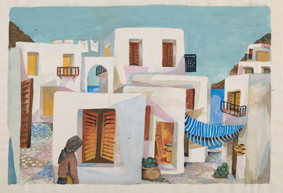 (Village on a Greek island with woman)